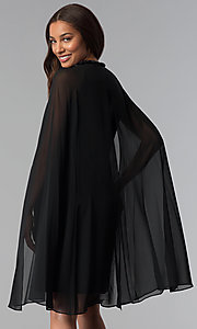 Image of wedding-guest short black dress with attached cape. Style: IT-111407 Back Image