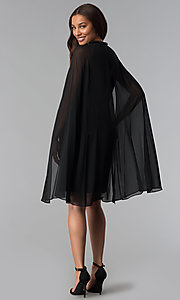 Image of wedding-guest short black dress with attached cape. Style: IT-111407 Detail Image 3