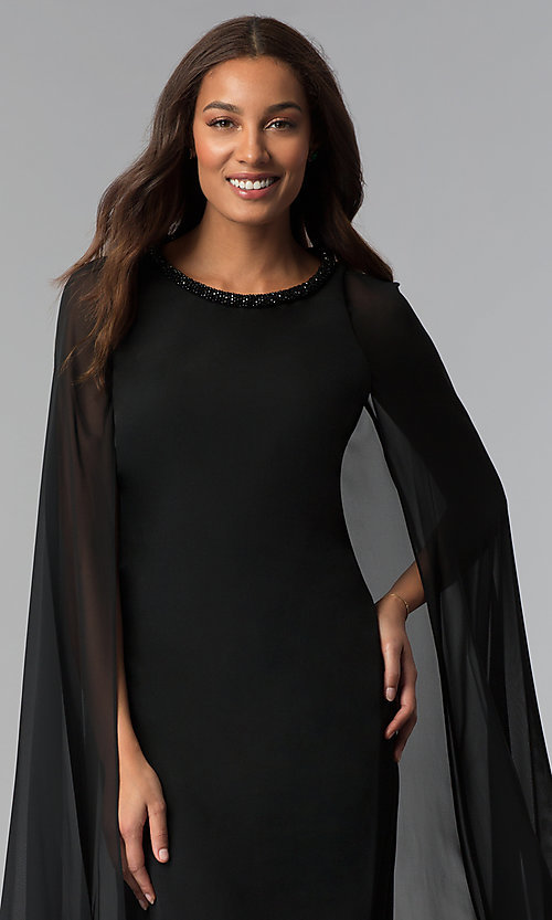 Image of wedding-guest short black dress with attached cape. Style: IT-111407 Detail Image 1