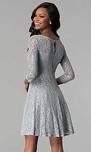 Image of short silver sequin-lace party dress with sleeves. Style: IT-112145-S Back Image