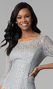 Image of short silver sequin-lace party dress with sleeves. Style: IT-112145-S Detail Image 1