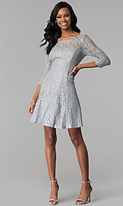 Image of short silver sequin-lace party dress with sleeves. Style: IT-112145-S Detail Image 2
