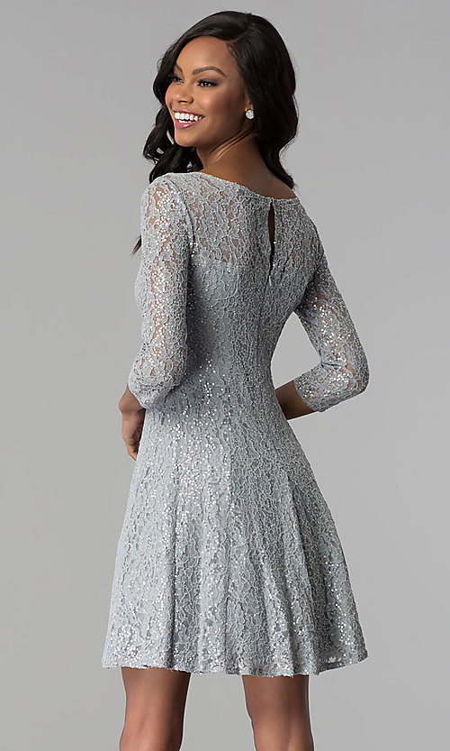 Sleeved Sequin-Lace Short Silver Party Dress- PromGirl
