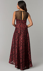 Image of embroidered black-red high-low holiday party dress. Style: IT-3793 Back Image