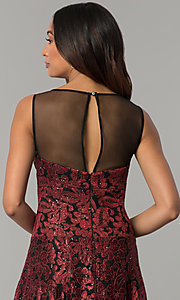 Image of embroidered black-red high-low holiday party dress. Style: IT-3793 Detail Image 2