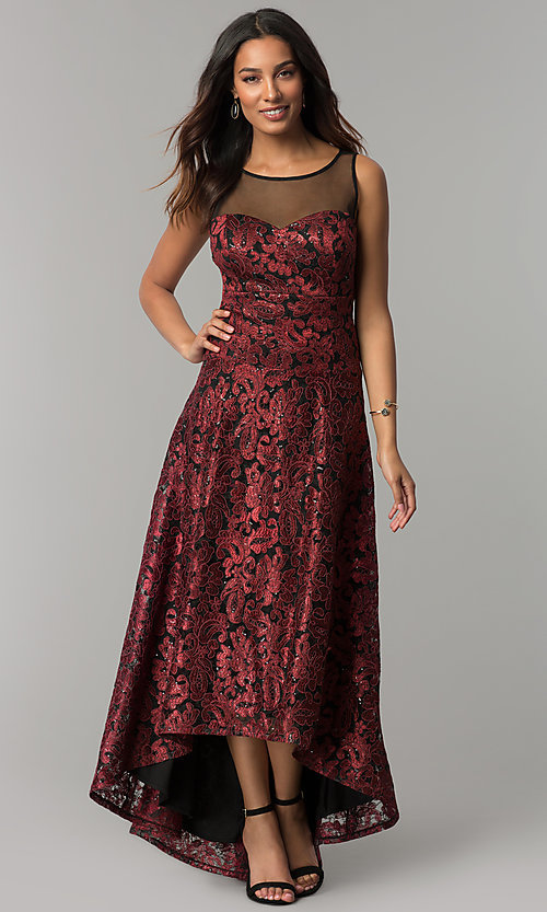 Image of embroidered black-red high-low holiday party dress. Style: IT-3793 Front Image