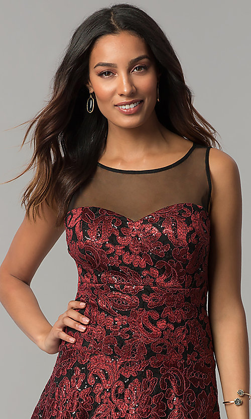 Image of embroidered black-red high-low holiday party dress. Style: IT-3793 Detail Image 1