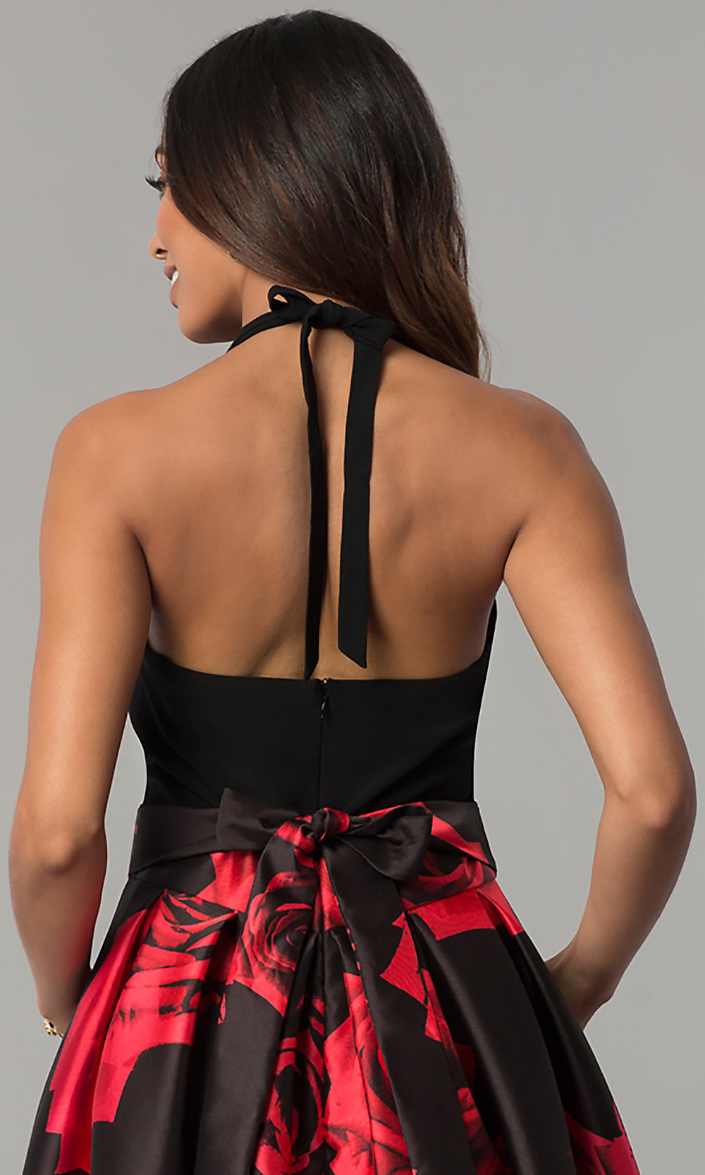 b512a700eef High-Low Red-Floral-Print Black Party Dress - PromGirl