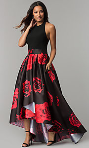 Image of high-low black party dress with red floral print. Style: IT-3882 Front Image