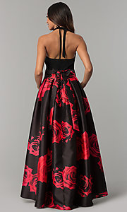 Image of high-low black party dress with red floral print. Style: IT-3882 Back Image