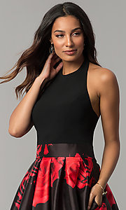 Image of high-low black party dress with red floral print. Style: IT-3882 Detail Image 1