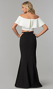 Image of black and off-white long two-piece prom dress. Style: FLA-83085 Back Image