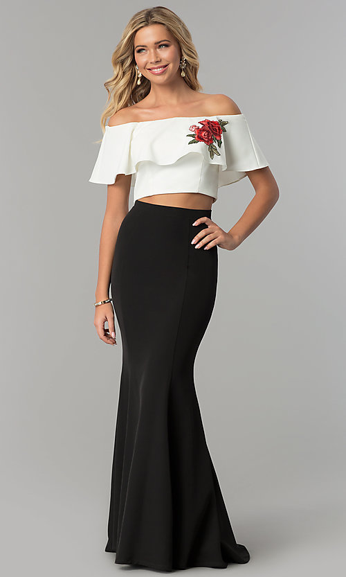 Image of black and off-white long two-piece prom dress. Style: FLA-83085 Front Image
