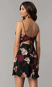 Image of a-line floral-print back-tie short party dress. Style: RO-R67005-1 Back Image