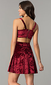 Image of short v-neck velvet holiday party dress Style: RO-R67279 Back Image