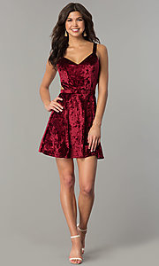 Image of short v-neck velvet holiday party dress Style: RO-R67279 Detail Image 1