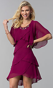 Image of scalloped tiered short party dress with capelet. Style: IT-SL112296 Detail Image 3