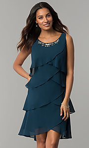 Image of scalloped tiered short party dress with capelet. Style: IT-SL112296 Front Image
