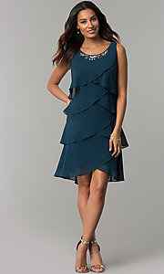 Image of scalloped tiered short party dress with capelet. Style: IT-SL112296 Detail Image 1