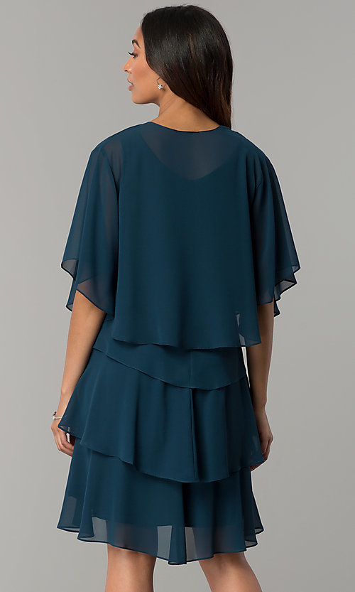 Image of scalloped tiered short party dress with capelet. Style: IT-SL112296 Back Image