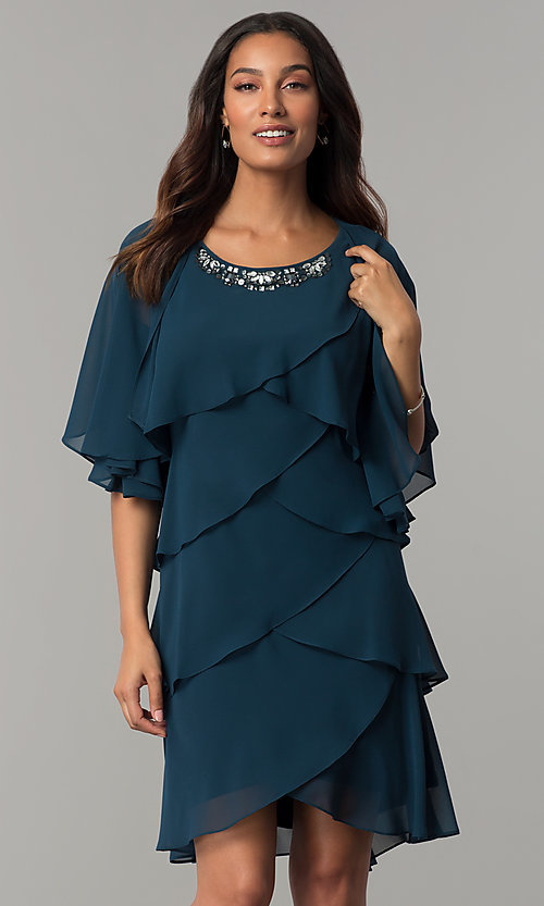 Image of scalloped tiered short party dress with capelet. Style: IT-SL112296 Detail Image 2