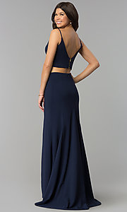 Image of two-piece long side-slit jersey prom dress. Style: JU-10680 Back Image