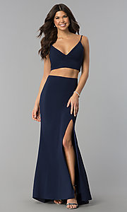 Image of two-piece long side-slit jersey prom dress. Style: JU-10680 Front Image