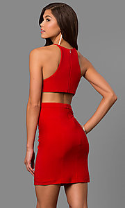 Image of short black homecoming dress with slit and racerback.  Style: FA-8053b Back Image