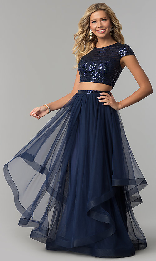 image of two-piece long navy prom dress with corset sequin top. Style: FLA-74376 Front Image