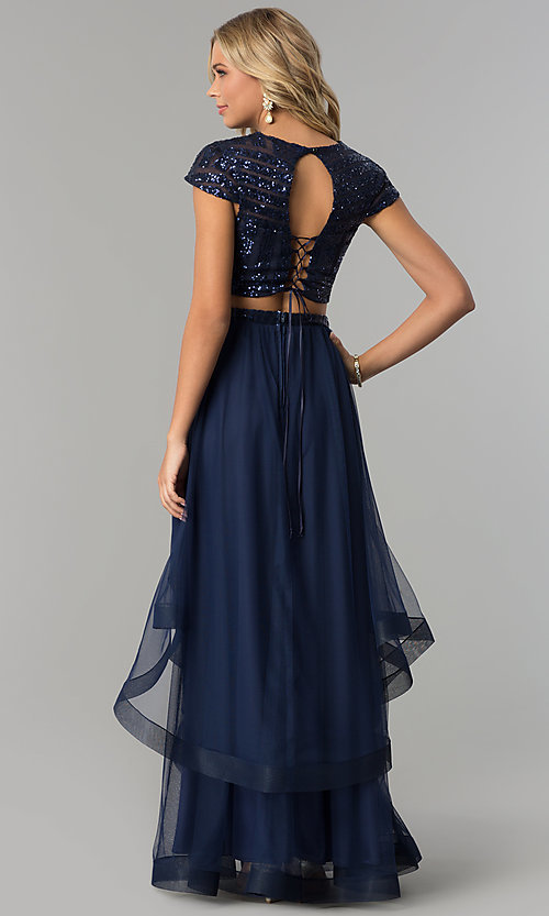 image of two-piece long navy prom dress with corset sequin top. Style: FLA-74376 Back Image