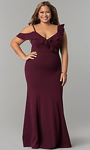 Formal Long Plus-Size Jersey Prom Dress with Ruffles