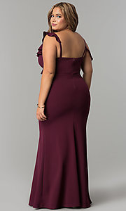 Image of formal long plus-size jersey prom dress with ruffles. Style: MB-Mp5032 Back Image