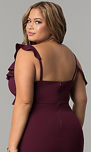 Image of formal long plus-size jersey prom dress with ruffles. Style: MB-Mp5032 Detail Image 2