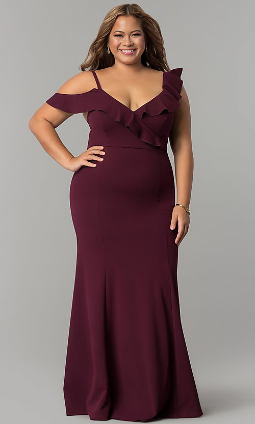 Image of formal long plus-size jersey prom dress with ruffles. Style: MB-Mp5032 Front Image