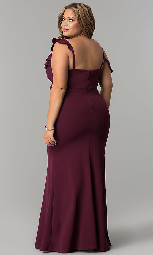 Long Jersey Formal Plus Size Prom Dress Promgirl