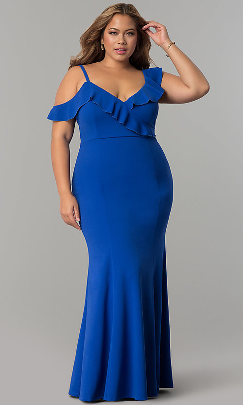 Image of formal long plus-size jersey prom dress with ruffles. Style: MB-Mp5032 Detail Image 3