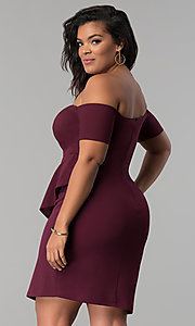 Image of short off-the-shoulder plus-size party dress. Style: MB-Mp5033 Back Image