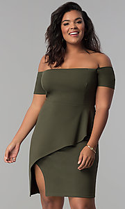 Image of short off-the-shoulder plus-size party dress. Style: MB-Mp5033 Front Image