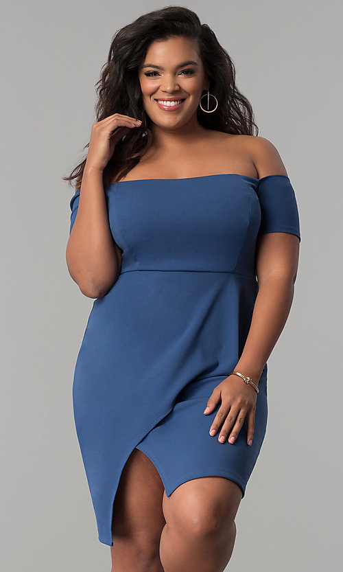 Image of short off-the-shoulder plus-size party dress. Style: MB-Mp5033 Detail Image 1