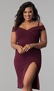 Image of short off-the-shoulder party dress in plus sizes. Style: MB-Mp5015 Detail Image 2