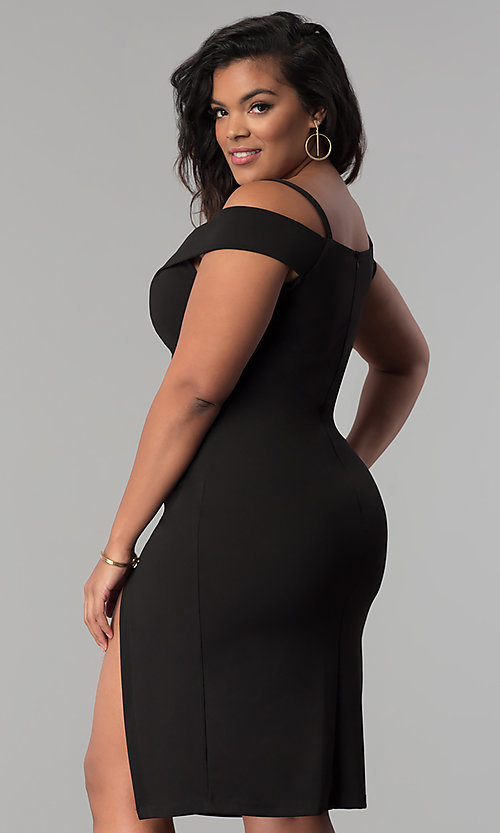 Image of short off-the-shoulder party dress in plus sizes. Style: MB-Mp5015 Back Image
