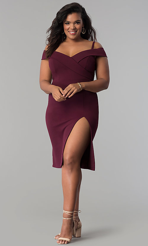 Image of short off-the-shoulder party dress in plus sizes. Style: MB-Mp5015 Detail Image 3