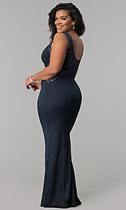 Image of lace scoop-neck long plus-size formal prom dress. Style: MB-Mp5027 Back Image