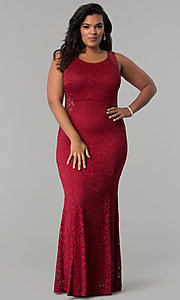 Image of lace scoop-neck long plus-size formal prom dress. Style: MB-Mp5027 Detail Image 1