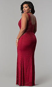 Image of lace scoop-neck long plus-size formal prom dress. Style: MB-Mp5027 Detail Image 3
