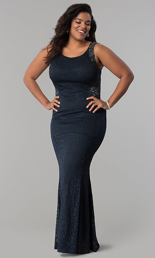 Image of lace scoop-neck long plus-size formal prom dress. Style: MB-Mp5027 Front Image