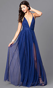 Image of long deep v-neck tulle prom dress with open back. Style: LUX-LD3449-v Front Image