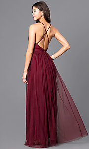 Image of long deep v-neck tulle prom dress with open back. Style: LUX-LD3449-v Back Image