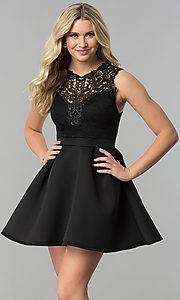 Image of short lace-bodice party dress with scuba skirt. Style: DC-D44469 Detail Image 3