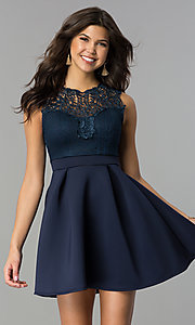 Image of short lace-bodice party dress with scuba skirt. Style: DC-D44469 Front Image